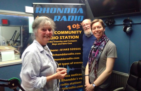 Prof Madeleine Gray, Dave Brownnutt and Claire Boot in the Rhondda Radio studios in Treorchy.